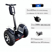 La fábrica de China 4000W Electric scooter Golf modelo doble batería 1266Wh 72V Segway
